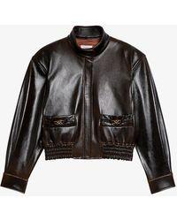Sandro Selam Logo-embossed Leather Jacket - Black