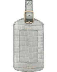 Smythson Mara Crocodile-embossed Calf Leather Luggage Tag - Metallic