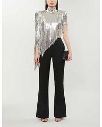 Balmain Sequin-embellished High-neck Silk-stretch Top - Metallic