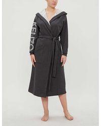 KENZO Logo Print Jersey Hooded Dressing Gown Range - Black