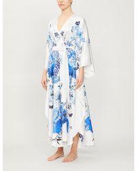 Meng Floral Print Wrap Silk Kimono - White