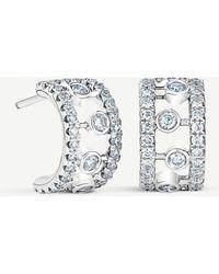 De Beers Dewdrop 18ct White Gold Diamond Earrings - Metallic