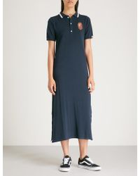 A Bathing Ape Logo-embroidered Knitted Midi Dress - Blue