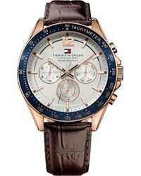 Tommy Hilfiger - 1791118 Men's Luke Chronograph Leather Strap Watch - Lyst