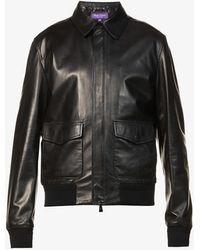 Ralph Lauren Purple Label Henfield Leather Aviator Jacket - Black