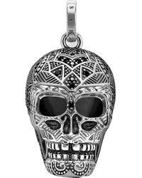 Thomas Sabo Rebel At Heart Skull Sterling Silver Pendant - Multicolour