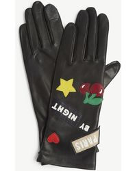 Agnelle Paris By Night Leather Gloves - Black