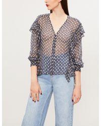The Kooples - Ruffled Floral-print Silk-blend Blouse - Lyst