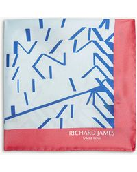 Richard James - Linear Blocks Print Silk Pocket Square - Lyst