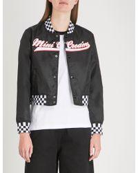 Mini Cream - Checkerboard-print Shell Bomber Jacket - Lyst
