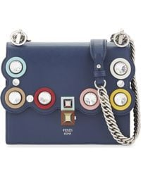 87cdd8122b Fendi Kan I Small Crystal Embellished Leather Cross-body Bag in Blue ...