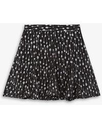 The Kooples Metallic Frilled Woven Mini Skirt - Black