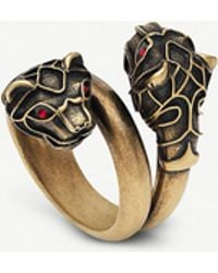 Gucci Tiger Head Swarovski Crystal Metal Wrap Ring - Metallic