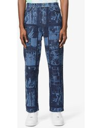 Daily Paper Comic Lazer Graphic-print Relaxed-fit Jeans - Blue