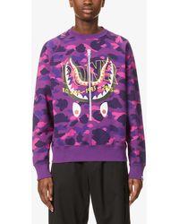A Bathing Ape Ponr Camo-print Cotton-jersey Sweatshirt - Purple
