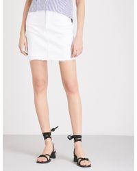 PAIGE - Elaina Denim Mini Skirt - Lyst
