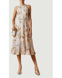 Ted Baker Floxyy Cabana Floral-print Lace-trimmed Cotton Midi Dress - Pink