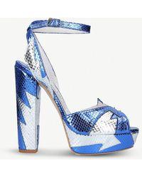 Terry De Havilland - Zia Metallic Snake-effect Leather Heeled Sandals - Lyst