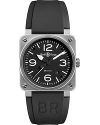 Bell & Ross Mens Black Br0392blst Stainless Steel And Rubber Strap
