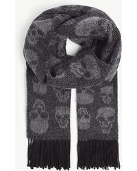 The Kooples - Skull Print Jacquard Weave Scarf - Lyst
