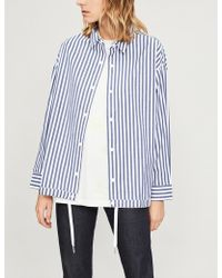 Izzue - Stripe-pattern Cotton Shirt Jacket - Lyst