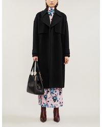 Diane von Furstenberg Wrap-over Notch-lapels Wool-felt Coat - Black
