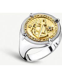 Thomas Sabo Faith, Love, Hope 18ct Yellow-gold Plated Silver Signet Ring - Metallic