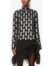16Arlington Maika Floral-print Metallic-jacquard Top - Black
