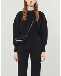 TOPSHOP black Knitted Cropped Sweatshirt By Boutique