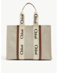 Chloé Woody Large Canvas And Leather Tote Bag - Multicolour