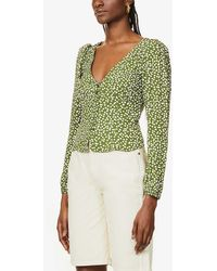 Reformation Nell Polka-dot Puff-sleeved Crepe Top - Green