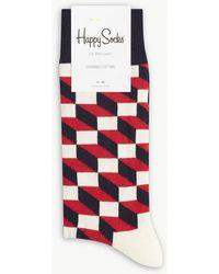Happy Socks - Optic Box-patterned Socks - Lyst