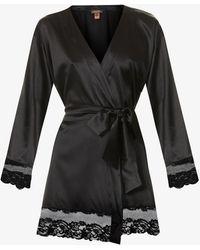Coco De Mer Seraphine Lace-trim Silk-blend Robe - Black