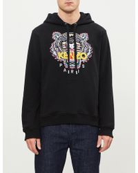 KENZO - Logo-embroidered Cotton-jersey Hoody - Lyst