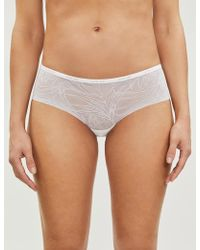 3af4339989bb Lyst - Calvin Klein Sheer Marquisette Thong String Panty in Black