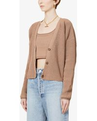 Reformation Elke Top And Cardigan Organic Cotton-knit Set - Blue