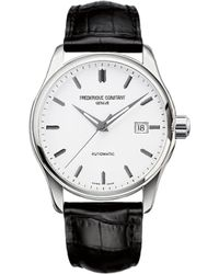 Frederique Constant - Fc-303s5b6 Index Slim Stainless Steel And Leather Watch - Lyst