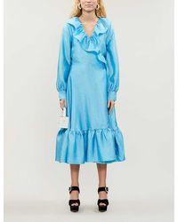 Stine Goya Steffi Ruffled-trim Metallic Midi Dress - Blue