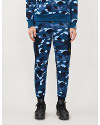 A Bathing Ape Camouflage-print Cotton-jersey jogging Bottoms - Blue