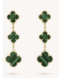 Van Cleef & Arpels Women's Yellow Gold Magic Alhambra And Malachite Earrings - Green