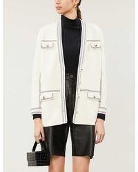 Maje Contrast-stitching Cotton Cardigan - White