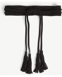 Maje Anoushka Tasseled Suede Belt - Black