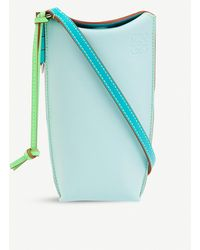 Loewe X Paula's Gate Pocket Leather Bucket Bag - Blue