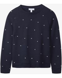 The White Company Star-embroidered Cotton Jumper - Blue
