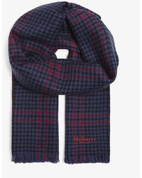 Mulberry Reversible Dogtooth Wool Scarf - Blue