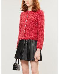 Claudie Pierlot Victorine Cotton-blend Tweed Jacket - Red
