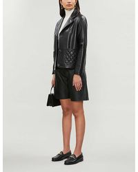 Sandro Quilted-detail Leather Blazer - Black