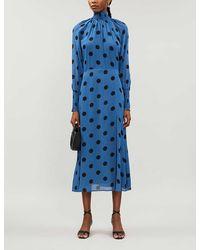 Reformation Valentin Dot-print Crepe Midi Dress - Blue