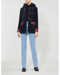 Sandro Faust Stripe-trimmed Wool-blend Coat - Blue
