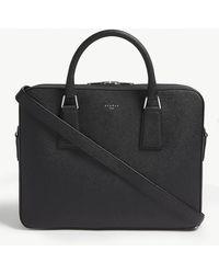 Sandro Noir Black Downtown Saffiano Leather Briefcase